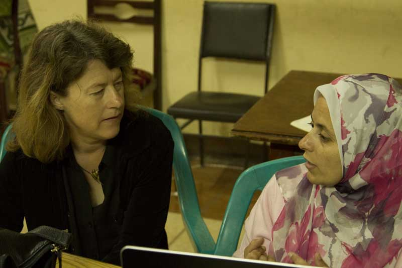 Kirstin Miller and Heba Khalil discussing the training event.