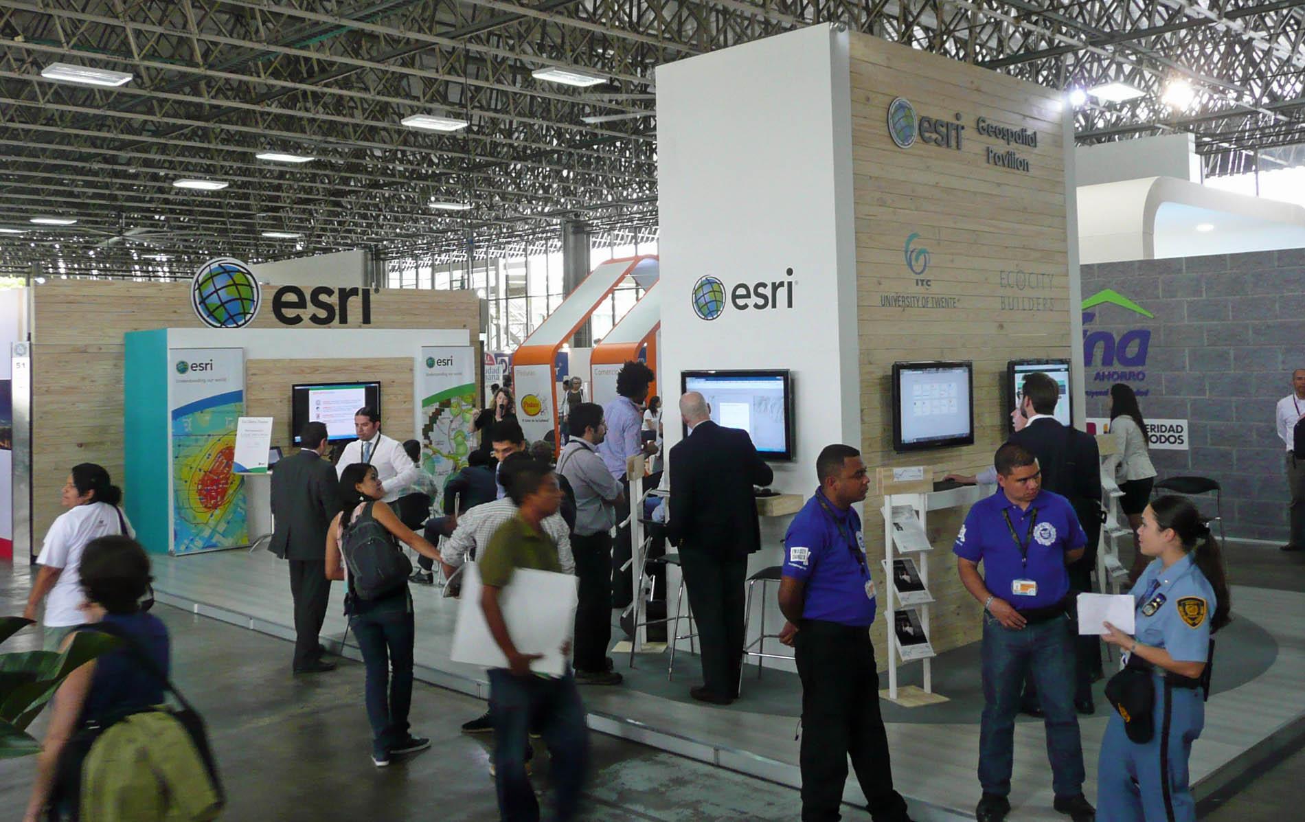 In Medellín at last, Ecocity Builders sets up in the Esri pavillion.