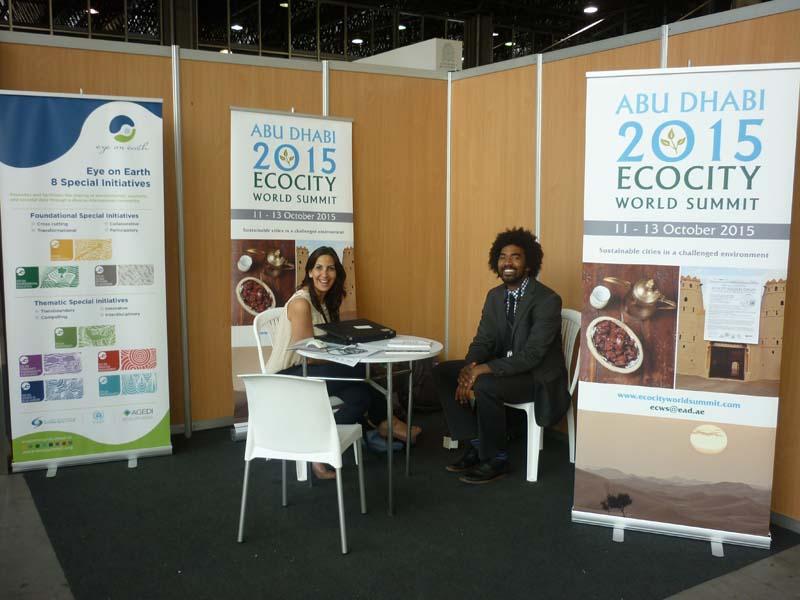 Huda Petra/AGEDI and Ashoka at our booth in the UN Habitat Pavilion